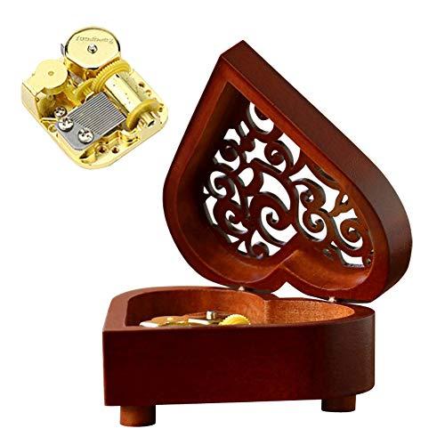 AIVTALK Spieldose Kinder Musikdose Vitage Spieluhr Holz Handwerk Musik-Box Lied Spielwerk Musikinstrument-Gold Bandgerät