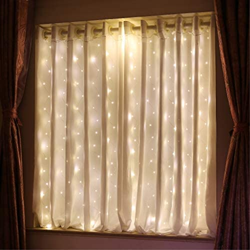 HXWEIYE Short Curtain Lights for Small Window 3 3x5Ft Warm White Fairy Light with Timer 8 Clips product image