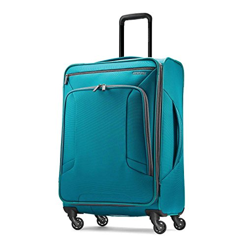 American Tourister 4 Kix Expandable Softside Luggage with Spinner Wheels, Teal, Checked-Medium 25-Inch