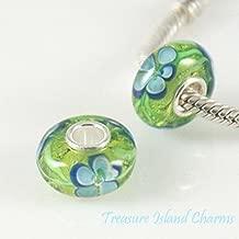 Forget-ME-NOT Flower Murano Glass .925 European Bead Charm