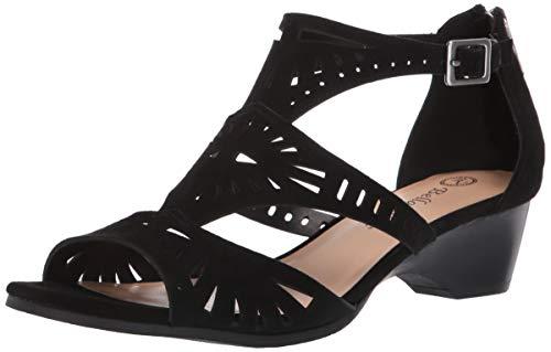 Bella Vita Women's Bella Vita Penny cutout sandal with back zipper Shoe, Black Kidsuede leather, 8 M US