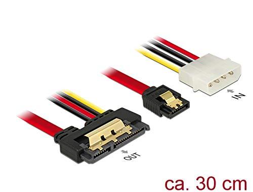 DELOCK kabel SATA 6 Gb/s 7-pins bus Molex 4-pins stekker > SATA 22 pin bus recht metaal 30 cm