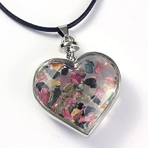 WKqifeil Kraft-Beads Estilo romántico Chapado en Plata Amor Corazón Deseo Botella Amatistas Colgante de Piedra Joyería de citrinos