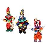 3 Unids Figura de Muñeca de Bufón Porcelana Cara de Maquillaje en Traje Colorido Juego de Diversión para Niños