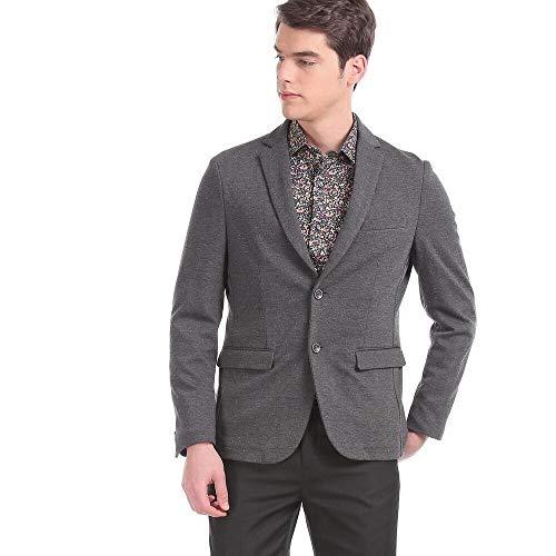 Arvind Men Grey Modern Slim Fit Speckled Single Breasted Blazer