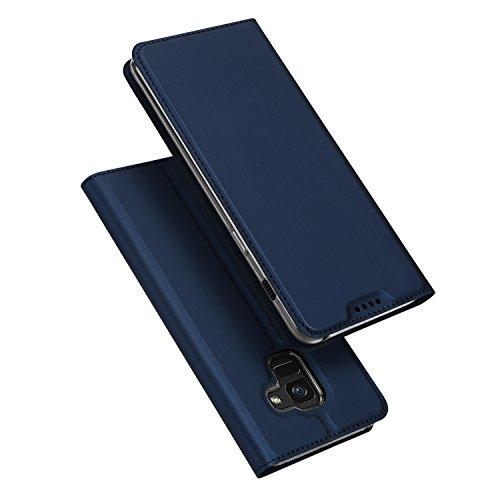 DUX DUCIS Hülle für Samsung Galaxy A8 2018, Leder Flip Handyhülle Schutzhülle Tasche Hülle mit [Kartenfach] [Standfunktion] [Magnetverschluss] für Samsung Galaxy A8 2018 (Blau)