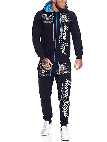 OneRedox | Herren Trainingsanzug | Jogginganzug | Sportanzug | Jogging Anzug | Hoodie-Sporthose | Jogging-Anzug | Trainings-Anzug | Jogging-Hose | Modell JG-512 Navy XXL