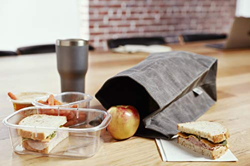 Product Image 4: Colony Co. Lunch Bag, Waxed Canvas, Durable, Plastic-Free, For Men, Women and Kids, Gray