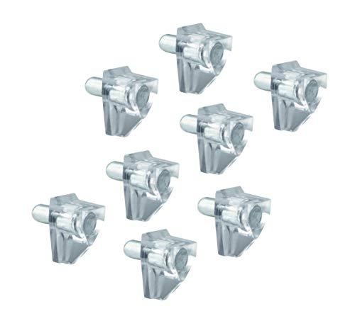 LouMaxx Bodenträger 5mm Kunststoff transparent mit Stahlstift, 50 Stück – Einlegeboden Halter - Regalbodenträger – Regalstifte – Fachbogenträger - aus massivem Stahl