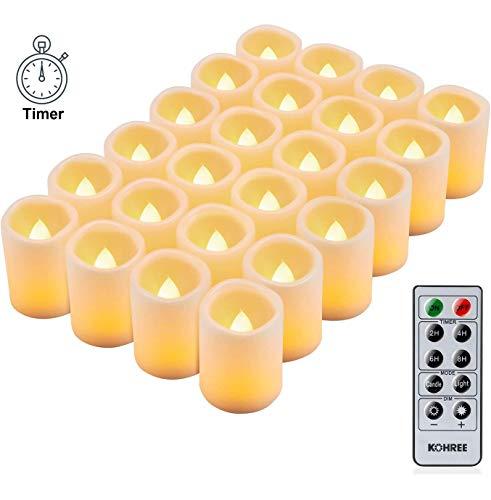 Kohree 24 LED Kerzen Flammenlose Teelichter mit Timer Fernbedienung Outdoor Batteriebetriebene Elektrische Flackern Kerzen für Muttertag Valentinstag Party Geburtstags, Warm weiß (Batterien Enthalten)