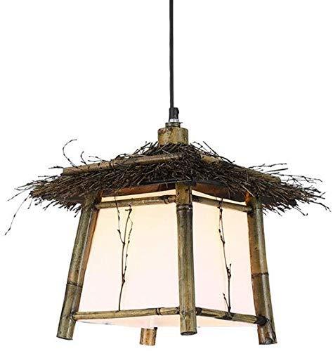 Lámpara de araña de bambú vintage Jaula de pájaros tejida Lámparas de restaurante Luz colgante Lámpara colgante de bambú creativa Lámpara de mimbre Lámpara de bambú 70 cm Longitud de cadena ajustable