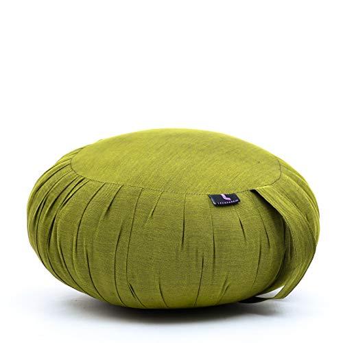 Leewadee Zafu - Coussin de méditation Rond Traditionnel Japonais, Coussin Zafu de Yoga en kapok, Assise au Sol 40 x 20 cm, Vert
