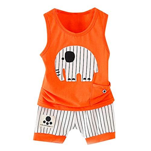 Yazidan Kinder Sommer Oansatz Cartoon Style Weste Streifen Shorts Sport Anzug Sommerblume Rundhals Elefant Weste gestreiften Shorts Kinder Sportanzug