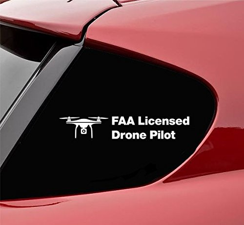 Slap-Art FAA Licensed Drone Pilot Vinyl Decal Sticker (White)