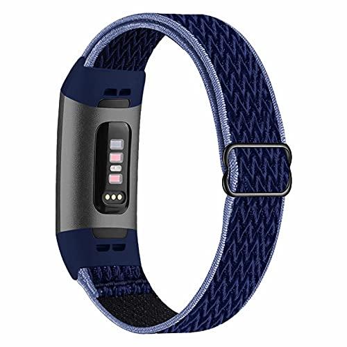 Fengyiyuda Elástico Nylon Correa de Reloj Compatible con Correa Fitbit Charge 3/4,Bandas para Relojes Inteligentes,Hebillas Ajustables,correas de repuesto para Fitbit Charge 3/4,Midnight Blue