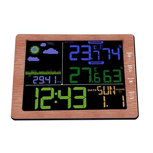 Yihaifu Funkwetterstation Sound Control-Modus Uhr im Freien Wetter Uhr HD Schirm-Temperatur-Feuchtigkeits Indoor Outdoor Wetter Clock
