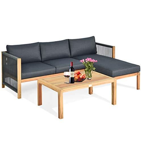 Tangkula L Shape Outdoor Furniture Set, 3 Piece Acacia Wood Patio Conversation Set, with 2 loveseats and Coffee Table, Garden Backyard Poolside Patio Seating Set