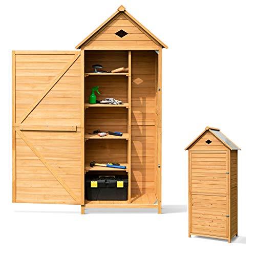 RELAX4LIFE Gerätehaus im Garten, Gartenhaus aus Holz, Gartenschrank mit Satteldach, Geräteschrank wetterfest, Geräteschuppen mit Ablagen, Werkzeugschrank für den außenbereich, 177 x 80 x 45 cm