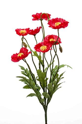 Artplants Set 12 x Amapola Artificial Vermeer en Vara de Ajuste, Rojo, 35cm - Flor Decorativa/Amapola de plástico