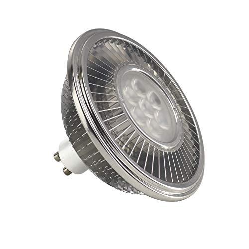 SLV Bombilla LED, GU10, 111 mm, 30°, 2700 K, aluminio, 13 W, color plateado