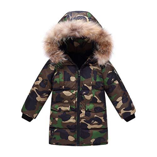 G-Kids jongens winterjas jas gewatteerde jas kinderen warm verdikte lange camouflage donsjas trenchcoat Praka met bontcapuchon