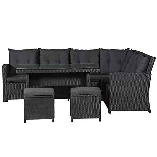 ArtLife Polyrattan Lounge Set Santa Catalina schwarz – Gartenmöbel-Set mit Ecksofa, Tisch, 2 Hocker, Kissen - Gartenlounge wetterfest bis 6 Personen