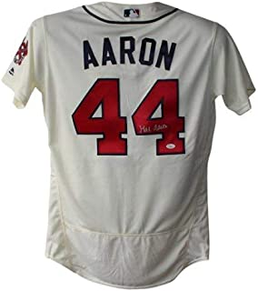 Hank Aaron Autographed Signed Atlanta Braves Authentic Majestic Cream 44 Jersey JSA