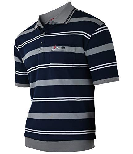Soltice Herren Poloshirts Kurzarm, Gestreift mit Brusttasche, Polohemden, Blousonshirts aus Baumwoll-Mix (M bis 3XL) (XL, [E] Grau)