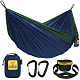 Wise Owl Outfitters Camping Hammocks - Portable Hammock for Outdoor, Indoor, Single & Double Use w/ Tree Straps - Backpacking, Travel, and Camping Accessories, Navy & Forrest
