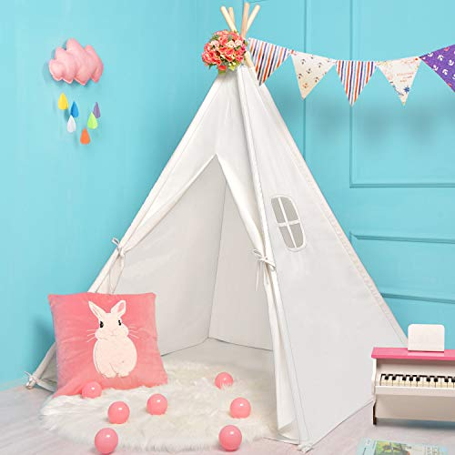 Sumerice Teepee Tent for Kids Toy with Carry Case, 100% Natural Cotton Canvas Children Playhouse, Gift for Girls and Boys to Play Indoor and Outdoor