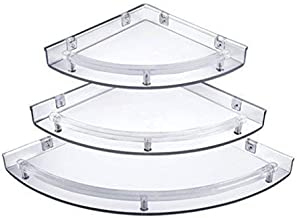 Yo India Corner Acrylic Shelf for Home Decor One Set (Standard Size, Clear) -3 Pieces