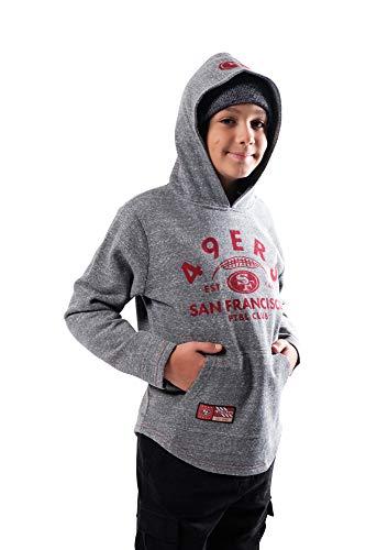 Ultra Game Boys Fleece Hoodie Pullover Sweatshirt with Vintage Logo, Grey Snow, S
