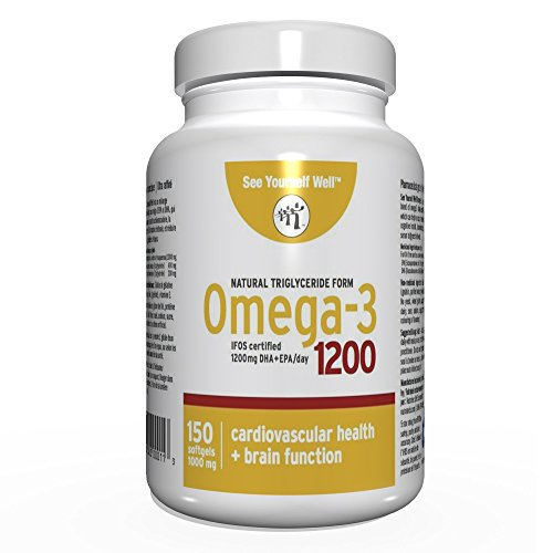 Omega 3 - Natural State: Ultimate Strength Omega 3 Fish Oil Softgels, 1200 (150 count). High EPA & DHA Essential Fatty Acids, Supports Heart, Brain, Joints and Immune System. No Fishy Aftertaste by See Yourself Well