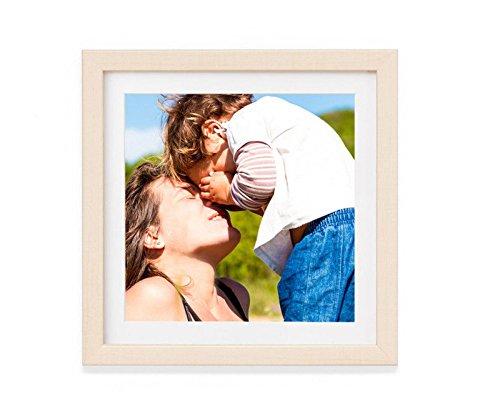 Artepoint Holz - Rahmen für Bilder quadratisch 15x15 20x20 25x25 30x30 40x40 50x50 mit weißem Passepartout Rahmen zum Aufhängen Farbe Natur - Format 50x50