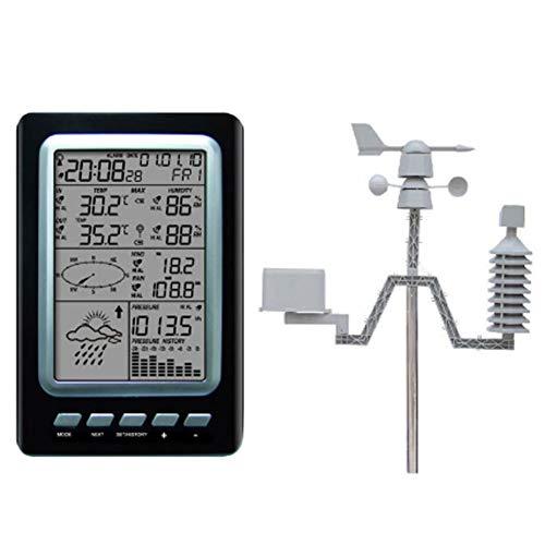 Professionelle Funkwetterstation mit DCF Funksteuerung Uhr, Wireless Sensor Windgeschwindigkeit und -richtung Niederschlag Temperatur-Feuchtigkeits-Wolke Weatherunderground