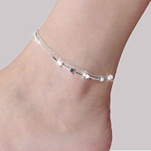 LUFA Mujer Plata Plateado corazón de la Mariposa para el Tobillo de la Cadena Pulsera de Tobillo del pie Ropa de Playa joyería