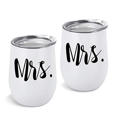Gingprous 2 Pack Mrs and Mrs Wine Tumbler Set, Lesbian Couple Idea for Girlfriend, Engagement Wedding Anniversary LGBT Idea 12 Oz Insulated Stainless Steel Wine Tumbler with Lid, White