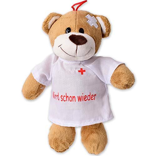 TE-Trend Plüsch Teddybär Gute Besserung Teddy Genesungsgeschenke Bär Glücksbringer Kuscheltier T-Shirt Wird schoon Wieder 24cm Braun