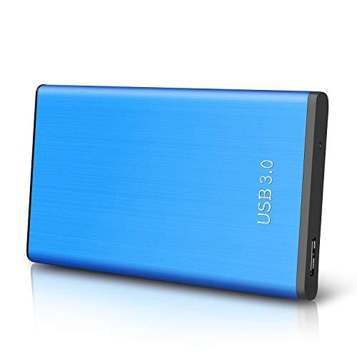 Disque Dur Externe 1to,USB3.0 SATA, Stockage HDD pour PC, Mac, Ordinateur de Bureaup, Ordinateur Portable, Wii U, Xbox, PS4 (1to, Bleu)