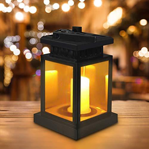 Linterna Solar Exterior, Farolillos Solares Exterior Jardin 9.5 * 9.5 * 16.5CM LED Luz Solar Con Vela, Impermeable IP44 para Fiesta Parque Boda Senderos Patio Navidad (Negro)