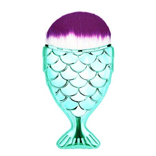 Kit De Pinceau Maquillage,Fulltime 1PCS Professionnel Poissons échelle Fishtail Fond Pinceau Poudre Blush Maquillage Brosses Cosmétiques Outil (A)
