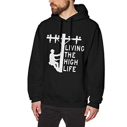 Jeffhd_tee Living The High Life - Lineman Men's Funny Hoodie Sweatshirt Sweater