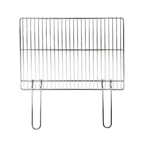 FGC Grillrost mit Doppelgriff, rechteckiger Grillrost aus Edelstahl für Feuerschale mit Grill, Kohle oder Gas (57 x 40 cm)