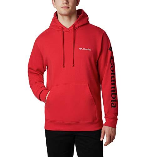 Columbia Men's Viewmont II Sleeve Graphic Hoodie Sweater, -mountain red, Medium
