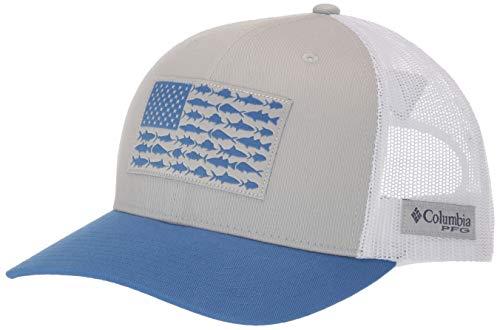 Columbia Unisex PFG Mesh Snap Back Fish Flag Ball Cap, Cool Grey/White/Vivid Blue, One Size
