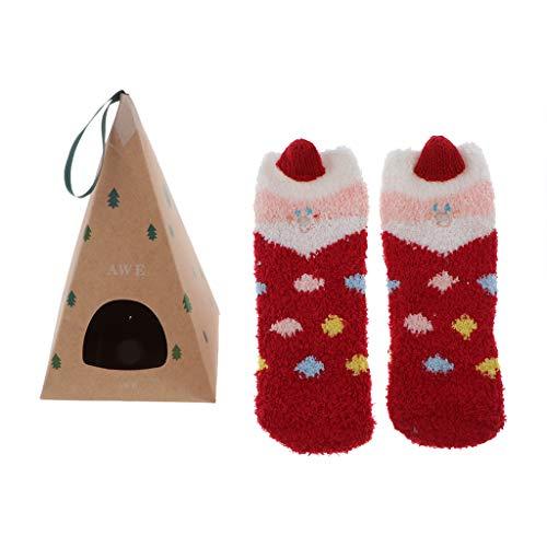 Hellery Mujeres Niños Calcetines de Lana de Coral Cálidos Caja de Regalo - Regalo Colgante de árbol de Navidad