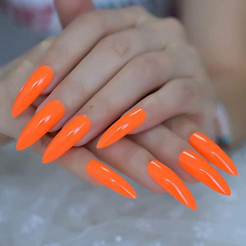 TJJF Pure Deep Orange Extra Long Sharp Stiletto False Nails Tips 24Pcs Appuyez sur Stilettos Nails For Fingers Wear 1Pc Glue Sticker