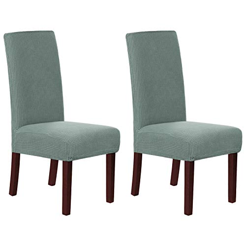 Soft Spandex Fit Stretch Short Dining Room Chair Covers, Banquet Chair Seat Protector Slipcover for Home Party Hotel Wedding Ceremony - 2 Pack, Sage