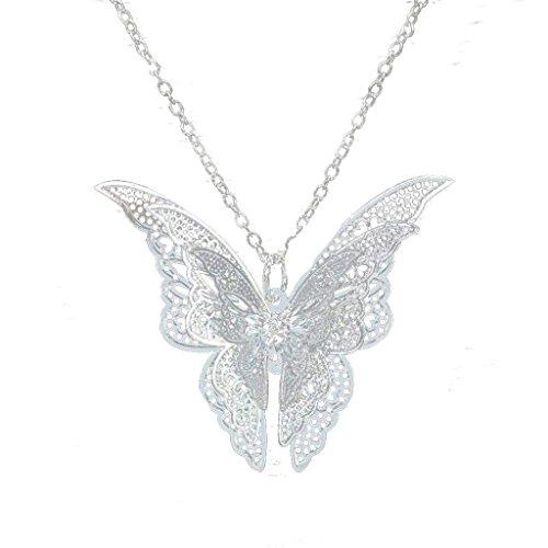 Aeromdale Damen-Halskette mit Schmetterlingsanhänger, Legierung, Silberfarben