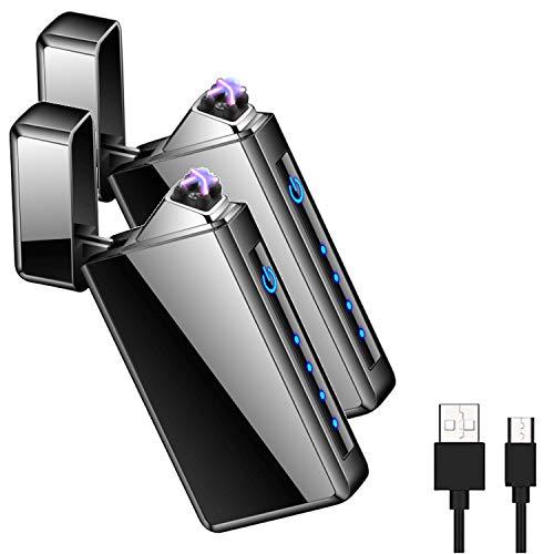 OLDFAI Plasma Dual Arc Accendino, Accendino USB Ricaricabile, Senza Fiamma Accendino Antivento, accendisigari elettrica Tasca Accendino, per Sigarette/Campeggio/Candele Leggere(2 pz)